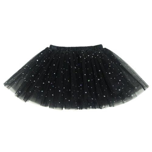 Girls Sparkle Glitter Sequins Stars Tulle Tutu Skirt Dance Ballet Princess Dress