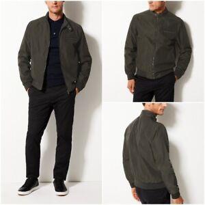 Ex-Marks-and-Spencer-Para-Hombre-Chaqueta-estilo-ciclista-stormwear-Verde-Caqui-Rrp-49-50