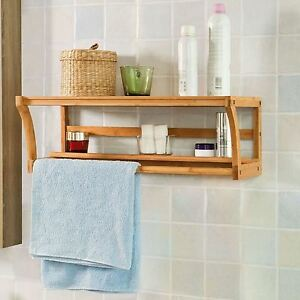Image Is Loading Bamboo Wooden Wall Mounted Bathroom Towel Rail Holder