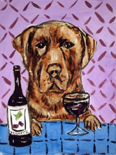 chocolate LABRADOR WINE p13x19  art print animals impressionism artist