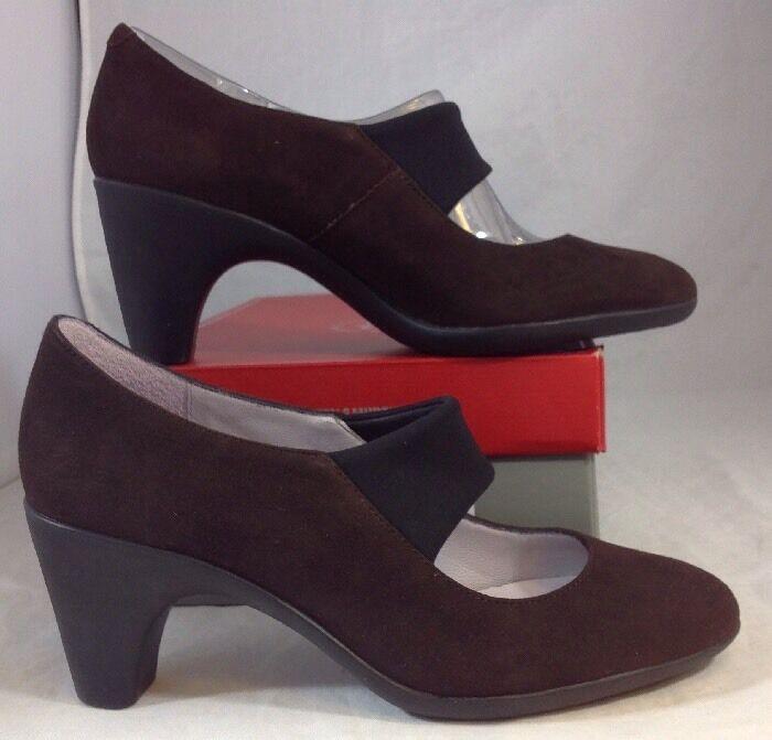 NEW JOHNSTON & & & MURPHY Strap Heels Size 7 1 2 Brown Faux Suede shoes Black Pumps 01bf7c