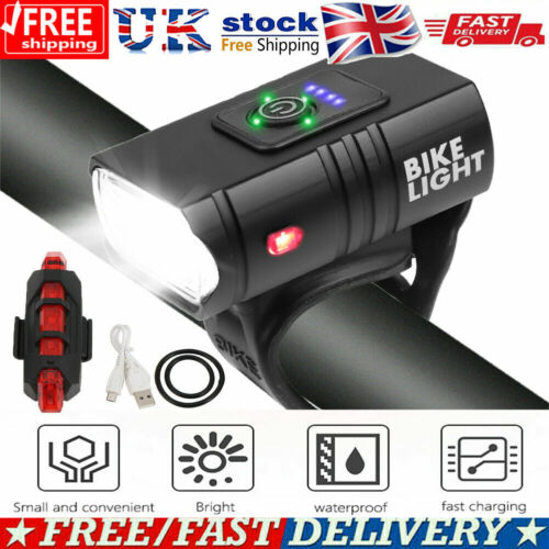 T6 LED MTB Rear/&Front Set Bicycle Lights Bike Light USB Rechargeable Waterproof