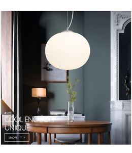 italy flos globe milk glass pendant e27 light ceiling lamp cafe