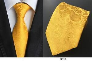Orange-Jaune-Cravate-Cachemire-a-Motif-Fait-a-la-Main-100-Soie-de-Mariage-8cm