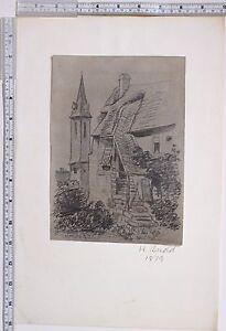 1879 Original Kunstwerk Zeichnung Sketch Von H.