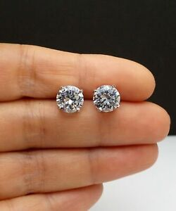 Round-4-00-Carat-Solitaire-Diamond-Earrings-Stud-Solid-14K-White-Gold-Studs