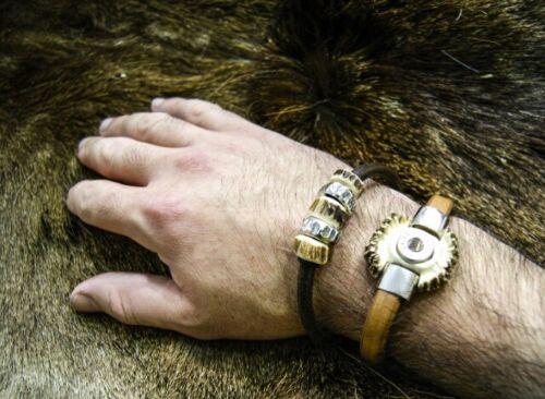 Armband mit Rehbock Geweih in 925 Sterling Silber Leder Jagdschmuck Charivari