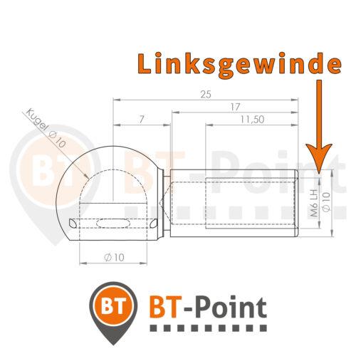 Kugelpfanne Stahl verzinkt B10 M6 LH DIN 71805 mit Sicherungsbügel Linksgewinde