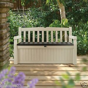 Cool Details About Keter Eden 70 Gal All Weather Outdoor Patio Storage Bench Deck Box Creativecarmelina Interior Chair Design Creativecarmelinacom