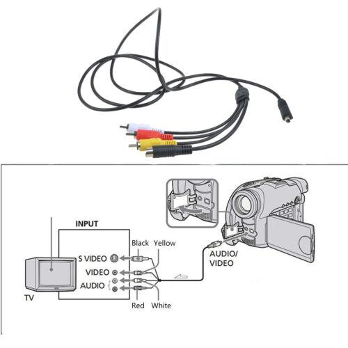 A//V de Audio Video Av Tv Cable Cable De Plomo Para Sony Handycam DCR-DVD650//e//v Videocámara