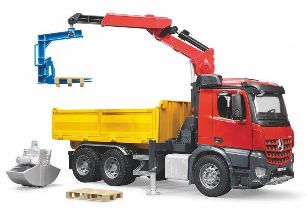 MB Arocs Baustellen-LKW mit Kran, Schaufelgreifer, Palettengabeln, Paletten 3651