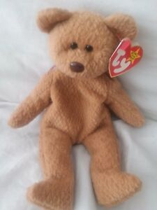TY BEANIE BABY CURLY OLD FACE BEAR MWMT RETIRED WITH TAG ERRORS RARE ... 4a61ce4680e