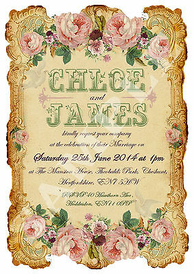 PERSONALISED SHABBY CHIC LOVEBIRDS WEDDING INVITATIONS-SOLD IN PACKS OF 20'S