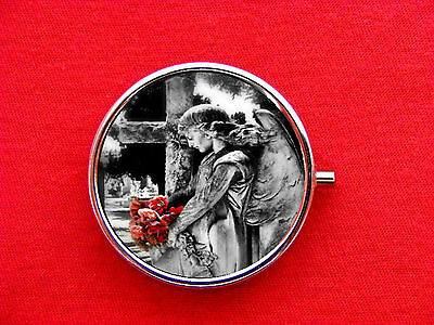 ANGEL STATUE TOMBSTONE ROSES ROUND METAL PILL MINT BOX