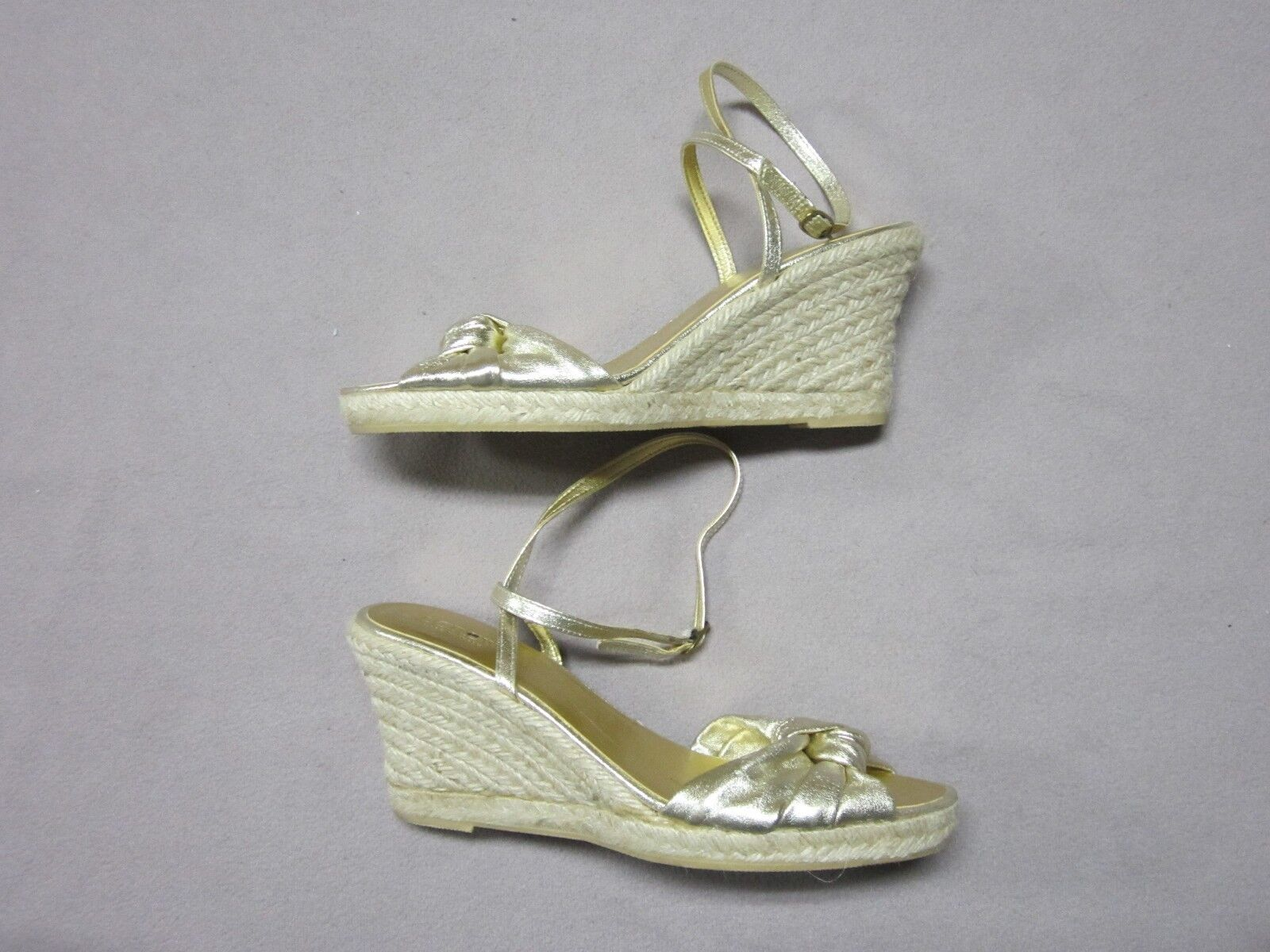 J.CREW MADE IN ITALY Damenschuhe RARE METALLIC GOLD ESPADRILLE PLATFORM WEDGES 9 NEU