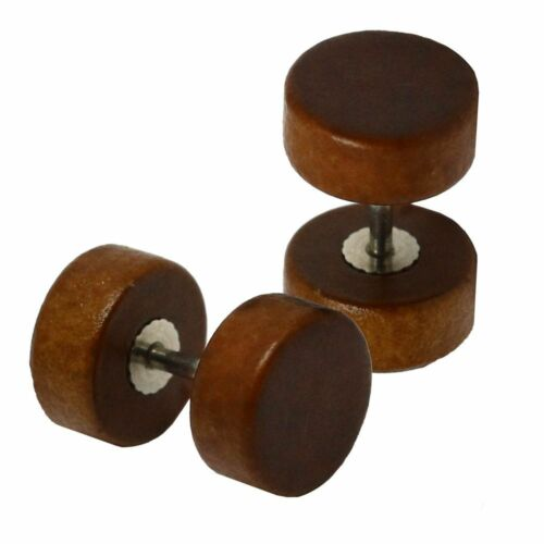 Wooden Earring Ear Ring Wood Timber Fake Plug Piercing Tunnel Nature Brown Beige