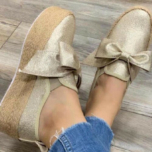 Women Platform Casual Shoes Suede Espadrilles Slip On Loafers Comfort Flat Pumps