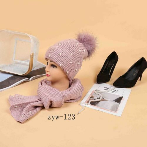 Scarf Set Hat Faux Fur Women Winter Pom And Knitted Girls Ladies Warm  Beanie  2