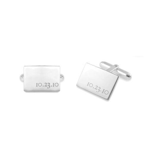 Custom Engraved Date Cufflinks in 925 Sterling Silver