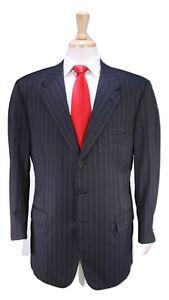 d-039-AVENZA-Charcoal-Gray-w-Aqua-Green-Pinstripe-3-Btn-Handmade-Wool-Suit-40R