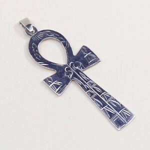 Vintage-Sterling-Silver-Handmade-Pendant-925-silver-Ankh-cross-Charm