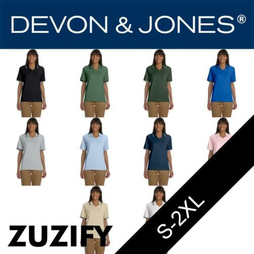 D140W Devon /& Jones Classic Ladies Tipped Perfect Pima Interlock Polo Shirt