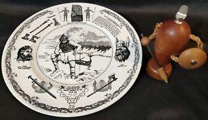 LEIF-ERICKSON-MN-Runestone-Thor-Odin-Vikings-Wood-amp-Sons-Plate-amp-Bottle-Opener