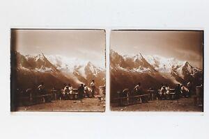Montagne Neige Vacanze Francia Suisse Foto Stereo Placca Da Lente Vintage