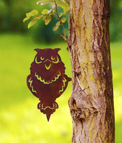 Gartenstecker Rost Baumstecker Eule Specht Eichhörnchen 25-30cm Gartendeko