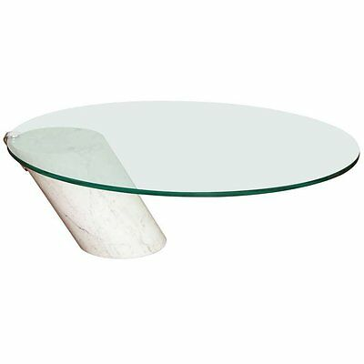Chic Modernist Brueton Style Carrara Marble Glass Cocktail Table