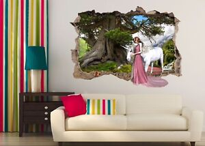 3D Unicorn Forest 6 Wall Murals Stickers Decal Breakthrough AJ