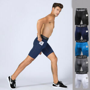 Men-039-s-Compression-Shorts-Fitness-Workout-With-Pocket-Dry-Fit-Sports-Sweatshorts