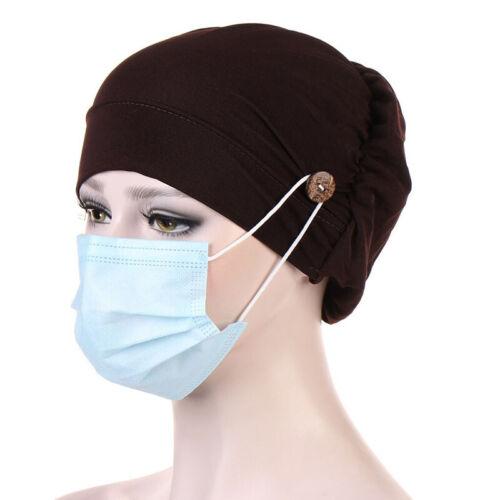 Solid Baumwolle Muslimisch Turban Hut für Damen Knopf Bonnet Innere Hijab Kappe