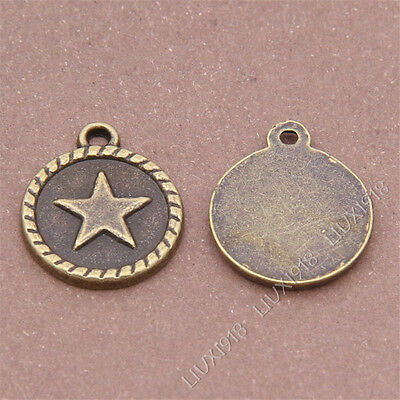 20pc Five-Pointed Star Round Tag Pendant Charms Dangle Accessories Bronze S294B