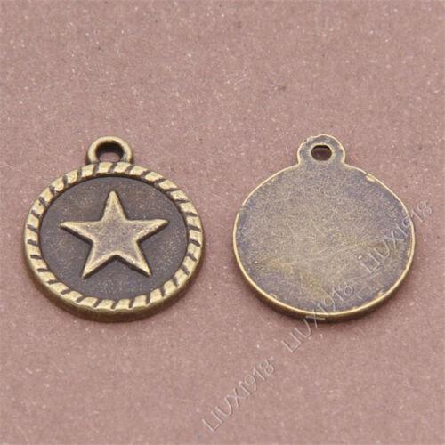 20pc estrella de cinco puntas redondo Etiqueta Encantos Colgante Cuelgan Accesorios Bronce S294B
