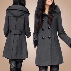 Thick Jacket Double Long Breasted Women Winter Overcoat Peacoat Fashion Hooded RZx0qES