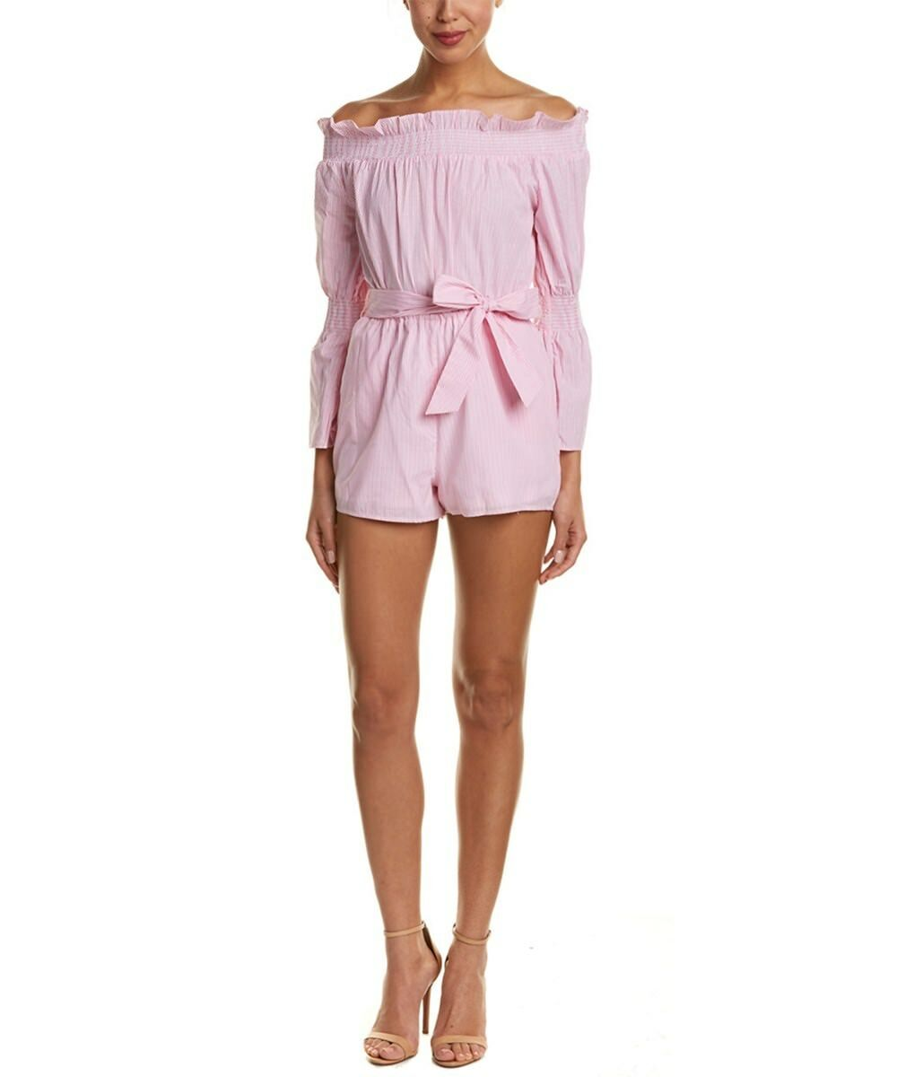 NWT  158 LEA & purple Off Shoulder White Pink Striped bell sleeve belt Romper XS