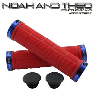 Noah-and-theo-DOBLE-Acopla-bicicleta-de-montana-apretones-manillar-Rojo-Azul