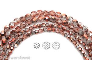 "Czech Fire Polished Round Faceted Glass Beads in Crystal SunSet Metallic, 16""str"