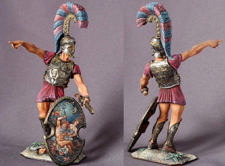 Tin leksakssoldater ELITE målade 90mm grekiska Nobleman, Argiraspide, med spjut.90