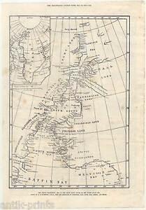 Nordpolarmeer Karte.Details Zu Arctic Expedition Arktis Nordpolarmeer Arktik Holzstich 1875 Eismeer Karte Map