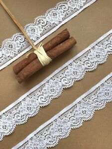 """3cm//1.25/"""" Pretty White Nottingham Gathered Frilled Lace Trim Sewing//Crafts"""
