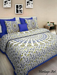 Genial Details About Pure Cotton Indian Rajasthani Blue New Design Bed Sheet With  Two Pillow Covers
