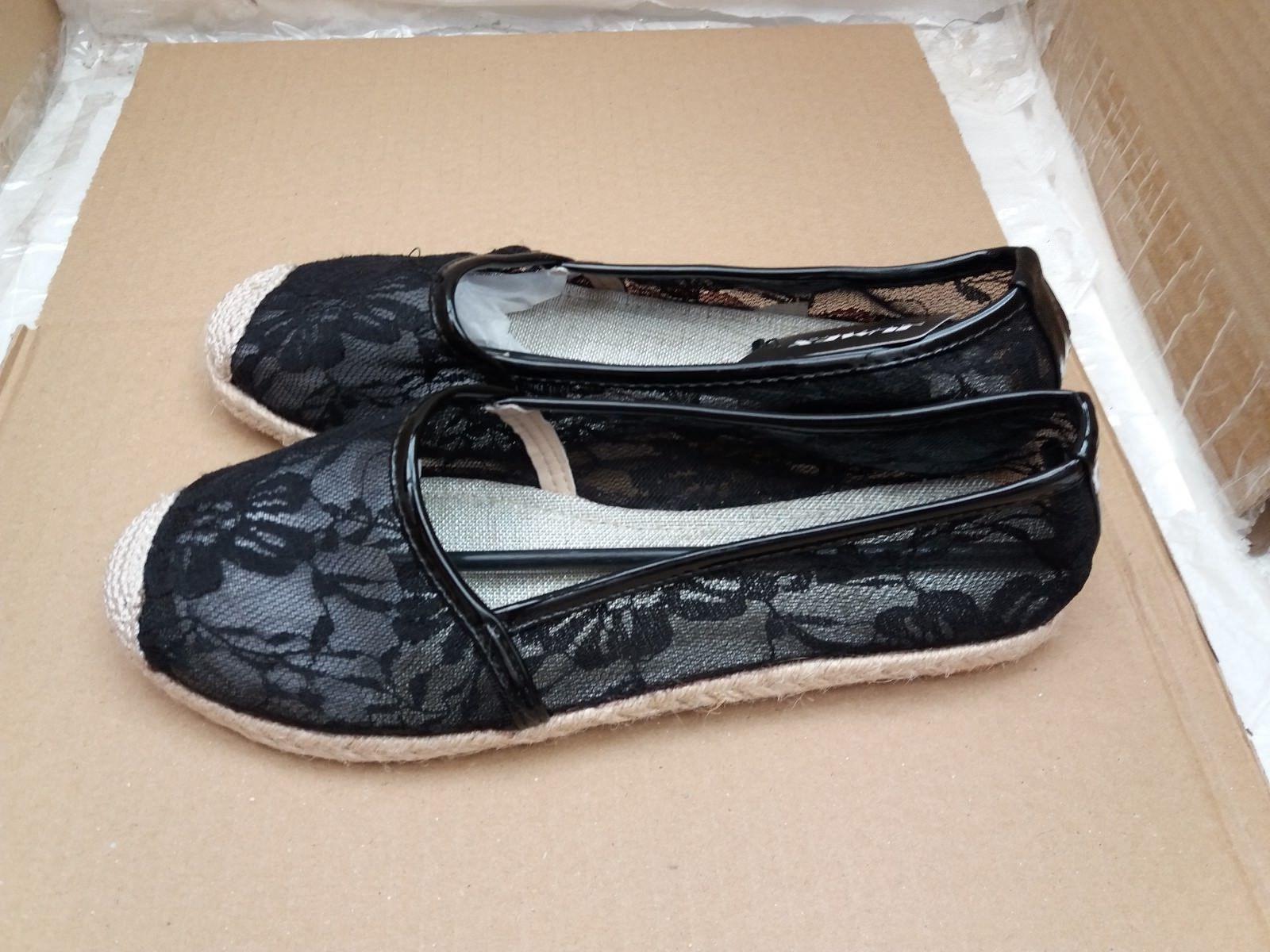 JUMEX Collection Ladies Espadrille Flat Black Shoes - EU 38/UK 5