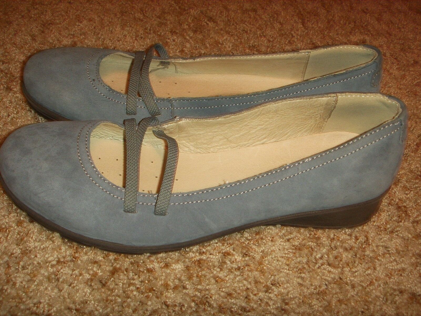 Igi and Co Blue Suede Ballet Wedge Slip On Shoes Womens Size 40