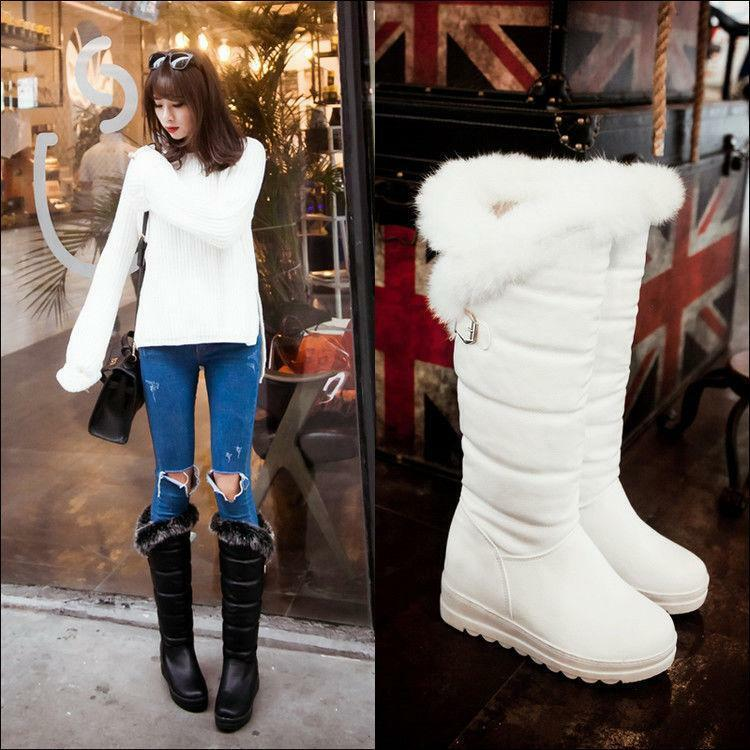 Winter Womens  Fur Lined Mid Calf Snow Boots Wedge Heel shoes Pull On Plus Size
