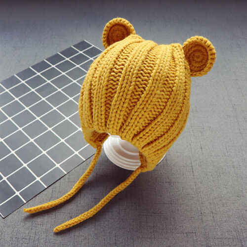 Lovely Cartoon Bear Ears Knitted Hat Lace Up Kids Baby Beanie Cap for 1-3 Years