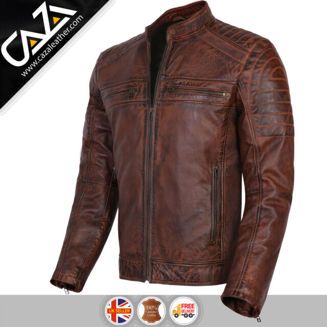 best website 6247e f9ba4 Da Uomo Vera pelle Giacca Motociclista Vintage Cafe Racer Marrone Slim Fit  S-3XL