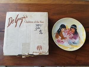DeGrazia-039-s-1987-Children-of-the-Sun-SPRING-BLOSSOMS-Plate-with-COA-NEW