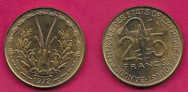 1972 West African States coin 25 Fr  Gazelle Unc beauty animal